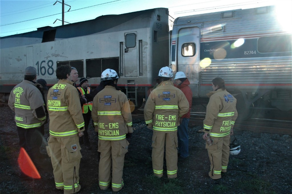 Einstein EMS Physicians participate in a training session/exercise to safely operate on electrified passenger rail incidents